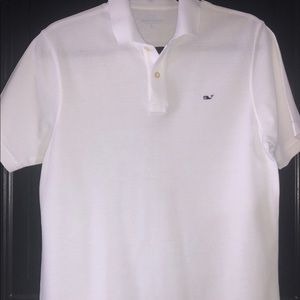 Kids White Vineyard Vines Polo with Navy Whale.